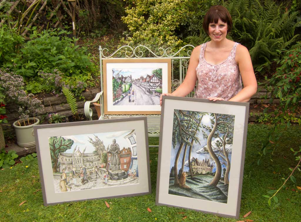 Photo of Rosie Philpott with new paintings
