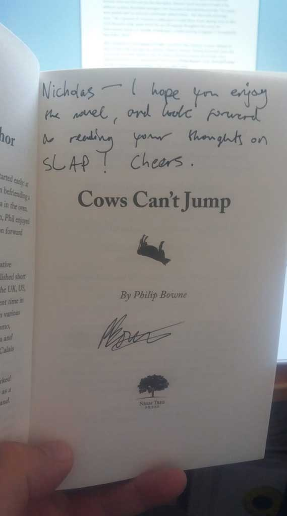 Signed inside Cover of Cows Can't Jump by Philip Bowne