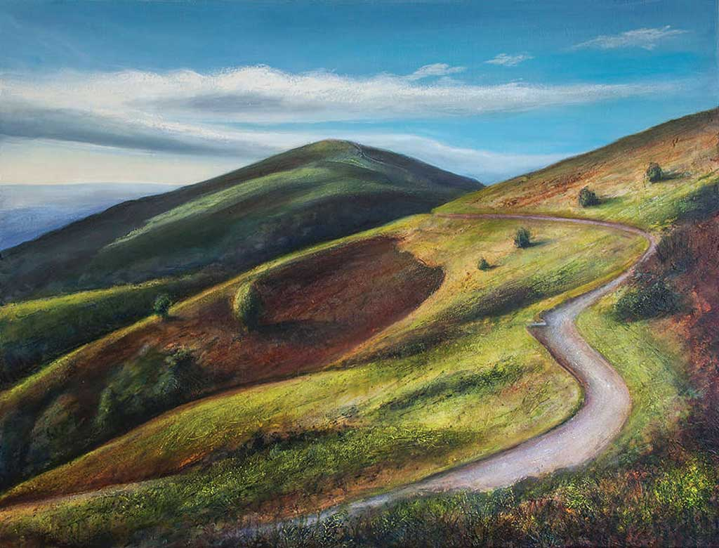 Painting of Worcestershire Beacon from North Hill
