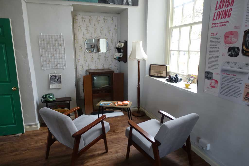 Photo of a 1950s lounge - part of Lavish Living, a new exhibition at Worcestershire County Museum