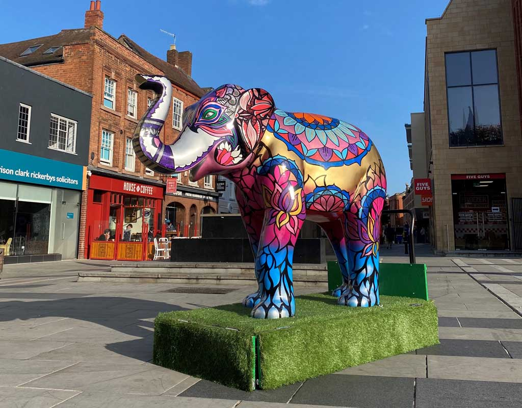 Photo of an elephant statue for Worcester's Big Parade