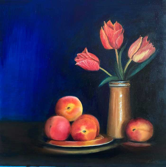 Flowers and fruit painting by Blossom Painting by Nicola Currie