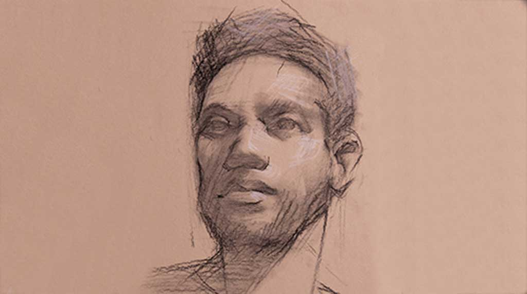 A portrait drawing of a person head