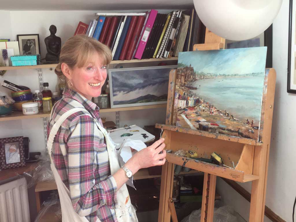 Photo of Upper Colwall artist Anna Cumming in her studio