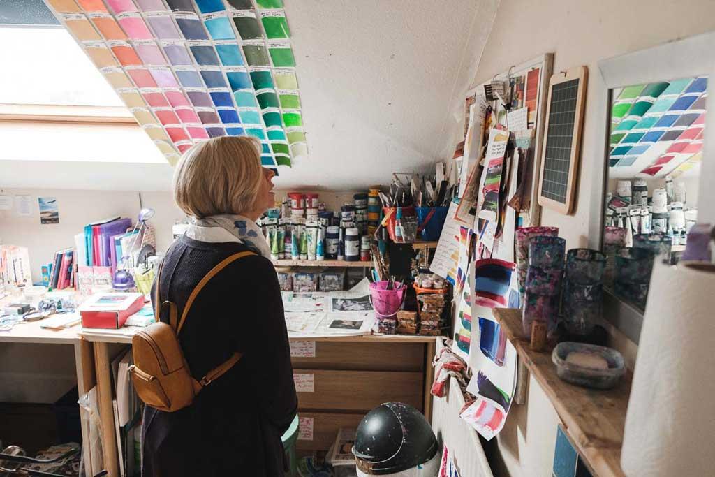 Photo of Worcester artist Cherrie Mansfield's open studio